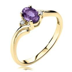 Złoty pierścionek z ametystem i diamentami
