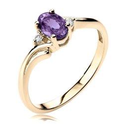Pierścionek z różowego złota z ametystem i diamentami