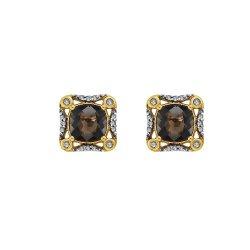 Złote kolczyki z diamentami i kwarcem dymnym