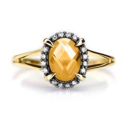 Złoty pierścionek z cytrynem i diamentami