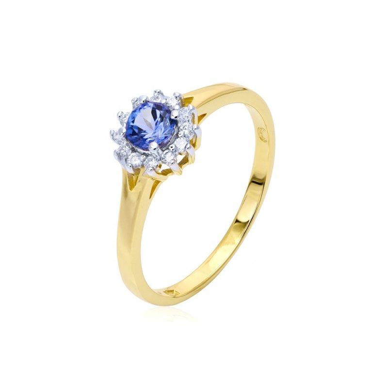 Złoty pierścionek z tanzanitem i diamentami