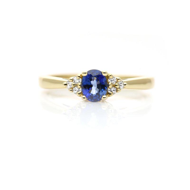 Złoty pierścionek z szafirem i diamentami