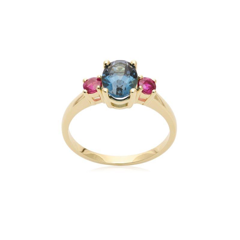 Złoty pierścionek z topazem i rubinami