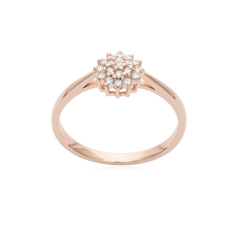 Pierścionek z różowego złota z diamentami