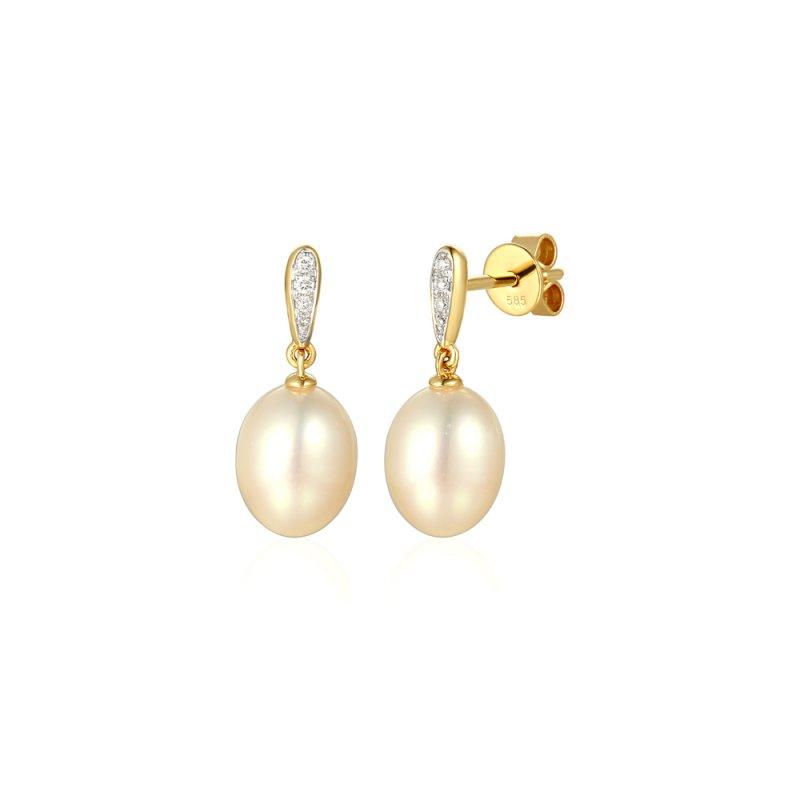 Złote kolczyki z diamentami i perłami
