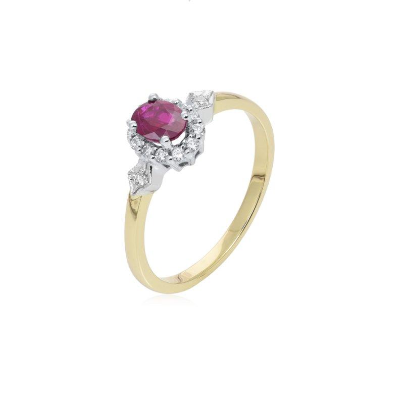 Złoty pierścionek z rubinem i diamentami