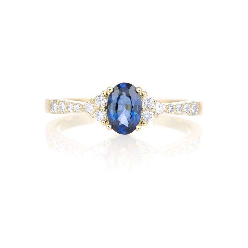 Złoty pierścionek zaręczynowy z szafirem i diamentami