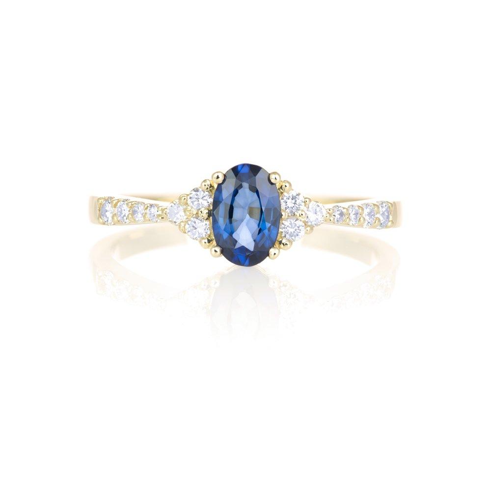 Złoty Pierścionek Zaręczynowy Z Szafirem I Diamentami Adoro